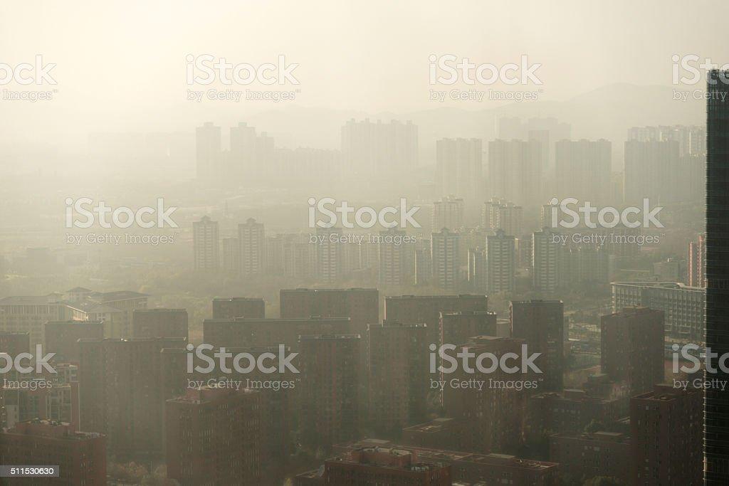 Urban air pollution stock photo