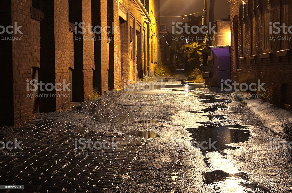 Urban Alleyway with Puddles at Night royalty-free stock photo