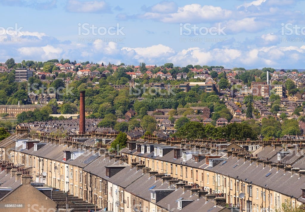 Urban and suburban housing in Bradford, West Yorkshire stock photo
