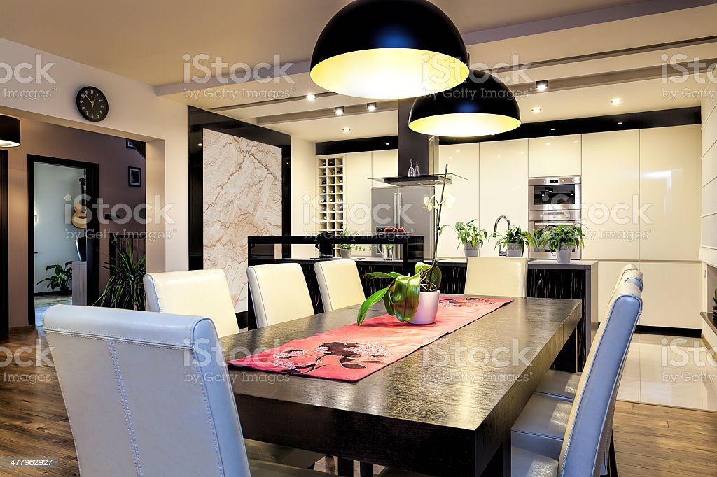 Urban apartment - Kitchen with big table royalty-free stock photo