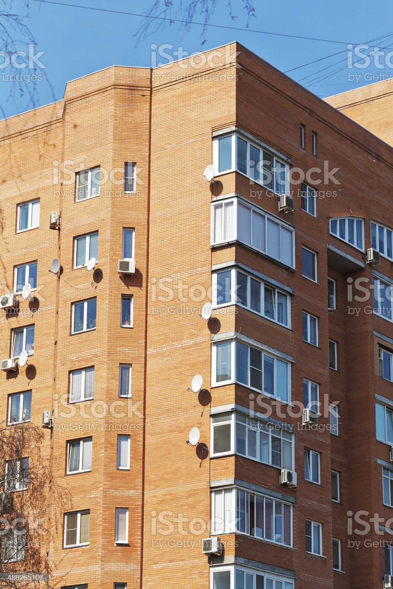 urban appartment brick house royalty-free stock photo