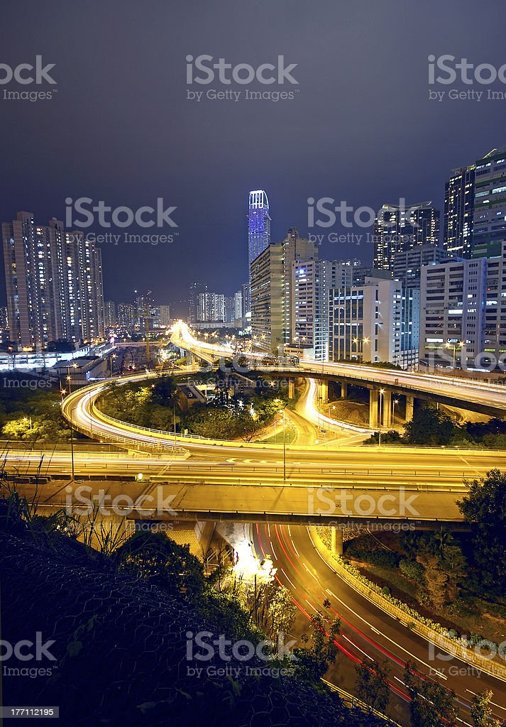 urban area dusk, busy traffic royalty-free stock photo