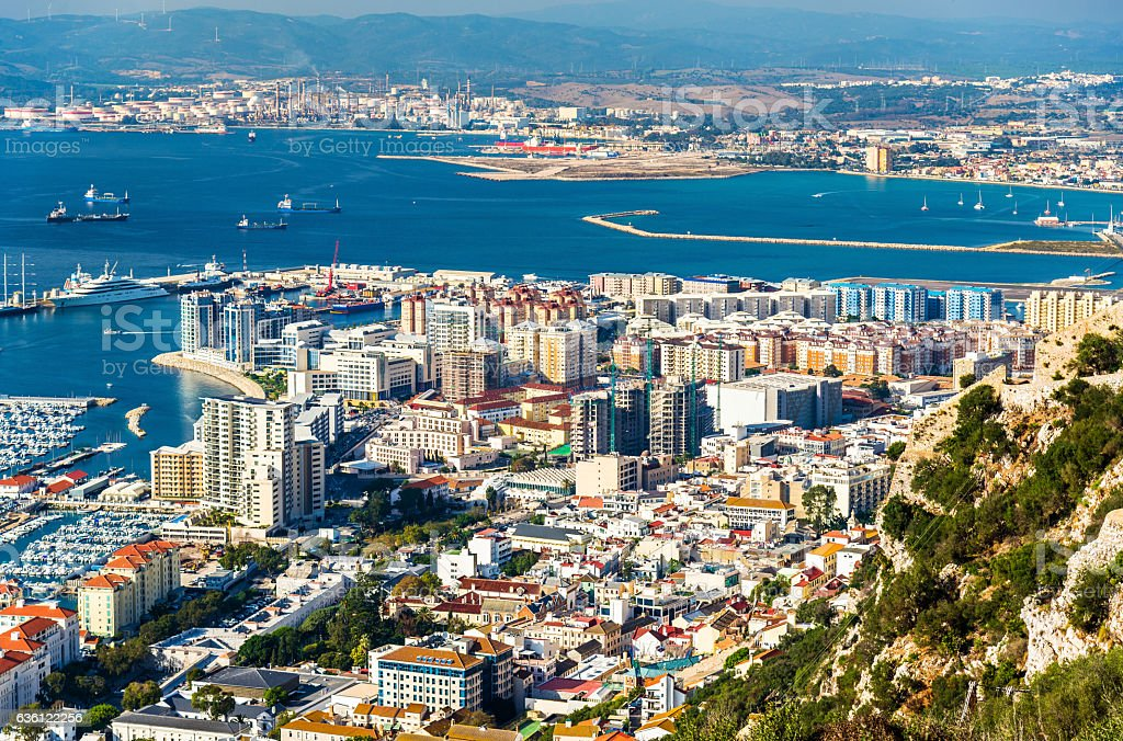 Urban area of Gibraltar seen from the rock stock photo