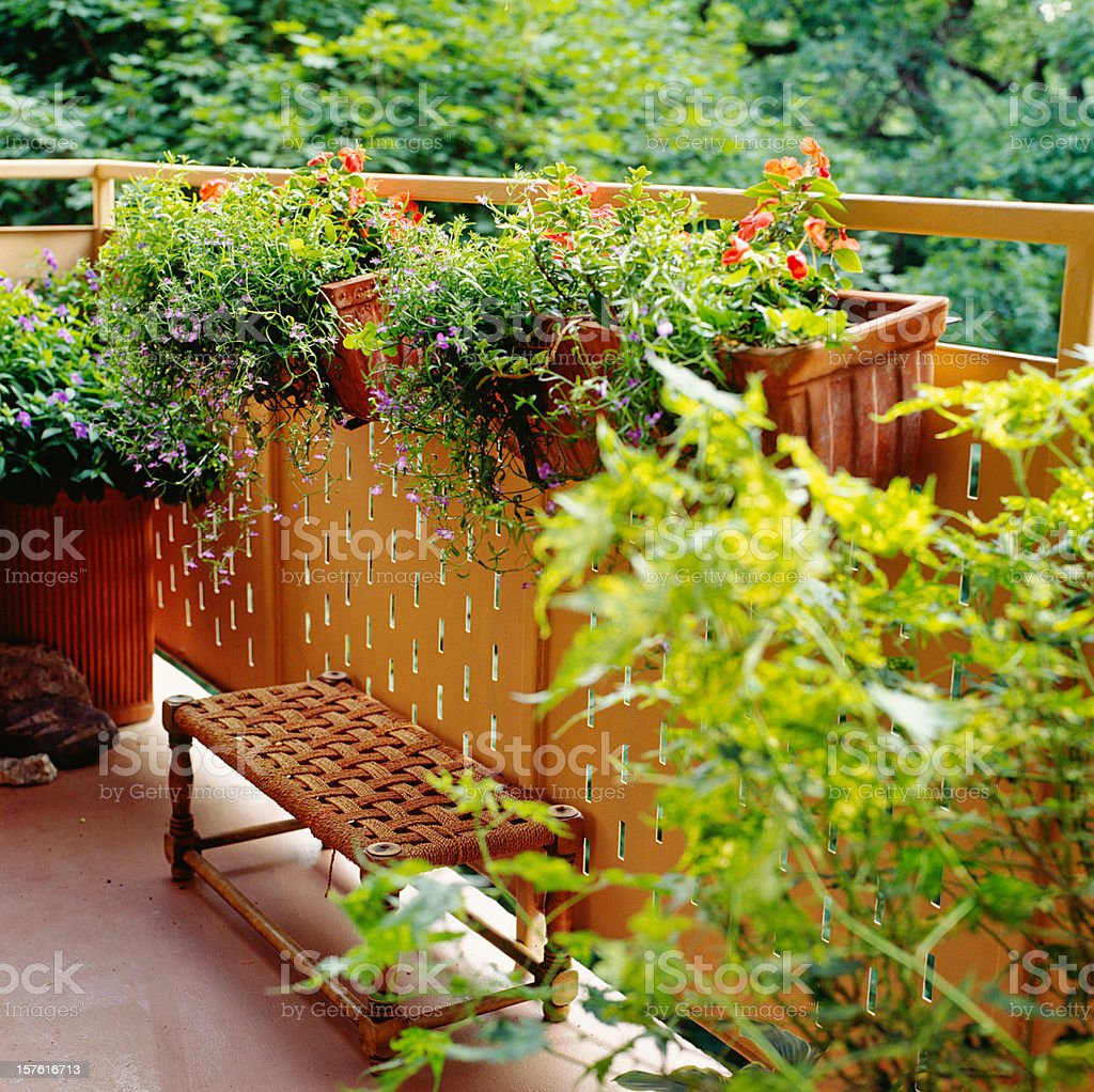 Urban Balcony decorated as country oasis royalty-free stock photo