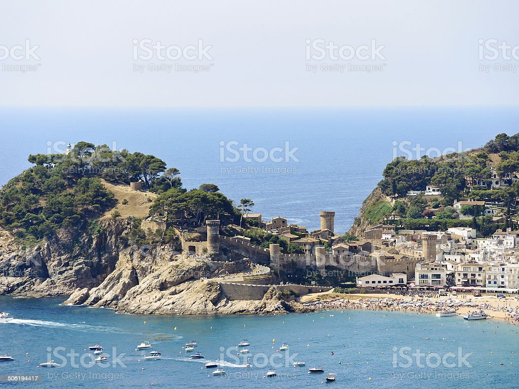 urban beach and Vila Vella in town Tossa de Mar stock photo