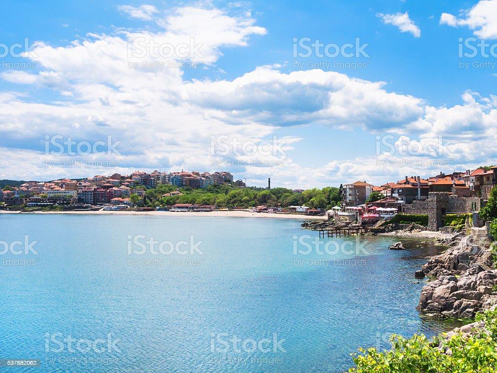 urban beach in Sozopol town, Bulgaria stock photo
