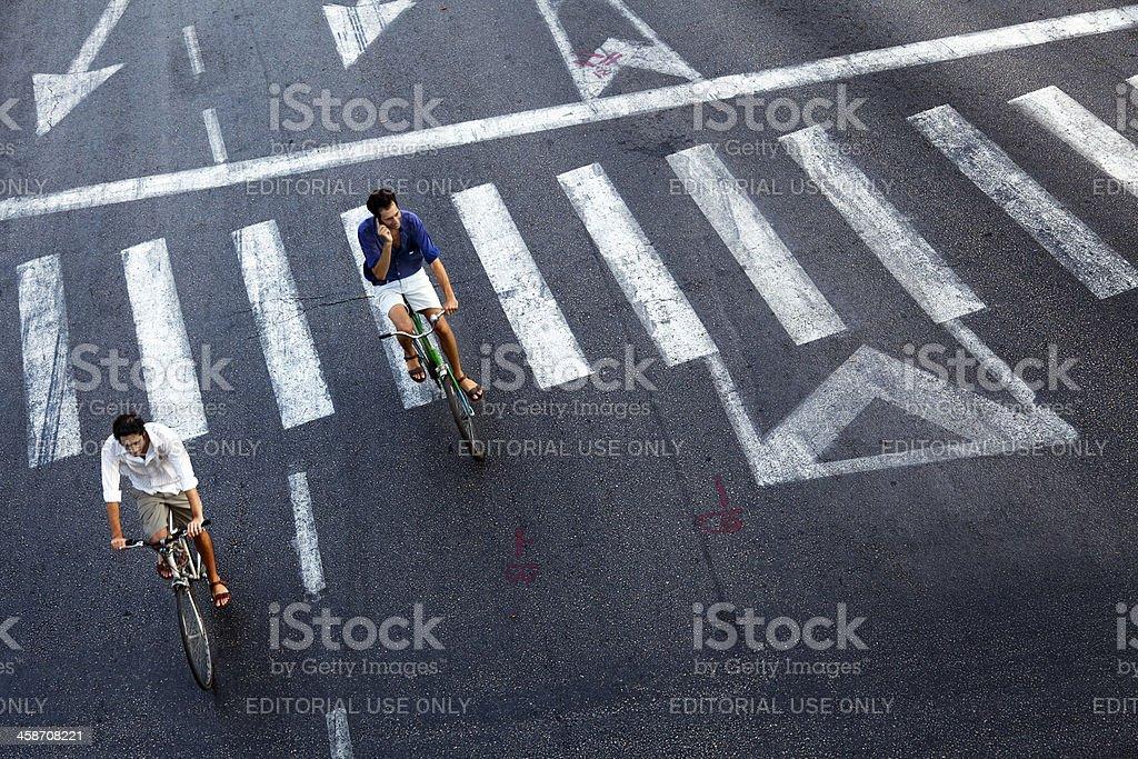 Urban Bicycle Riders royalty-free stock photo