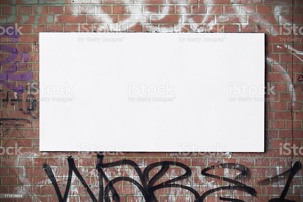 Urban billboard on wall stock photo