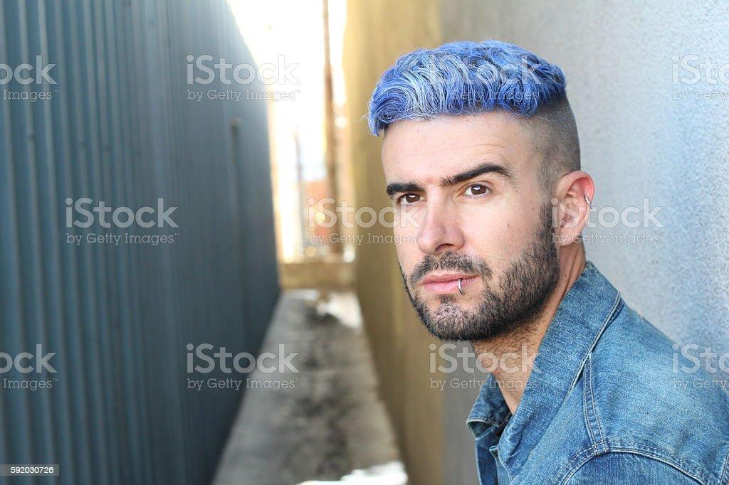 Urban blue hair disco punk fashion style stock photo