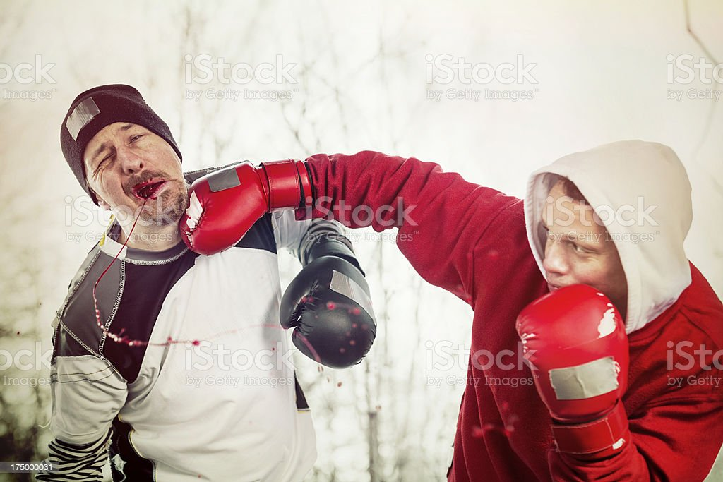 Urban boxing training on the street royalty-free stock photo