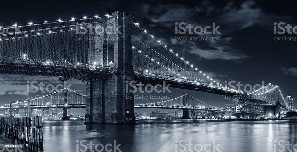 Urban bridge night scene royalty-free stock photo