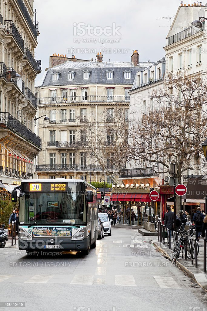 urban bus on Paris street stock photo