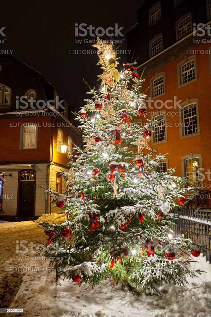 Urban Christmas Tree At Night stock photo