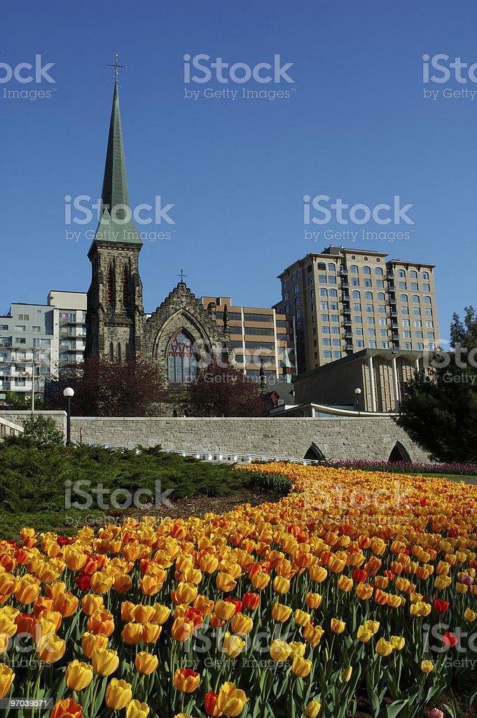 Urban church stock photo
