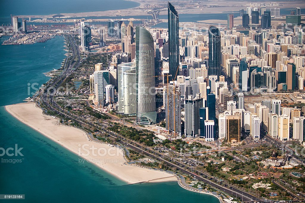 Urban city area in Abu Dhabi stock photo