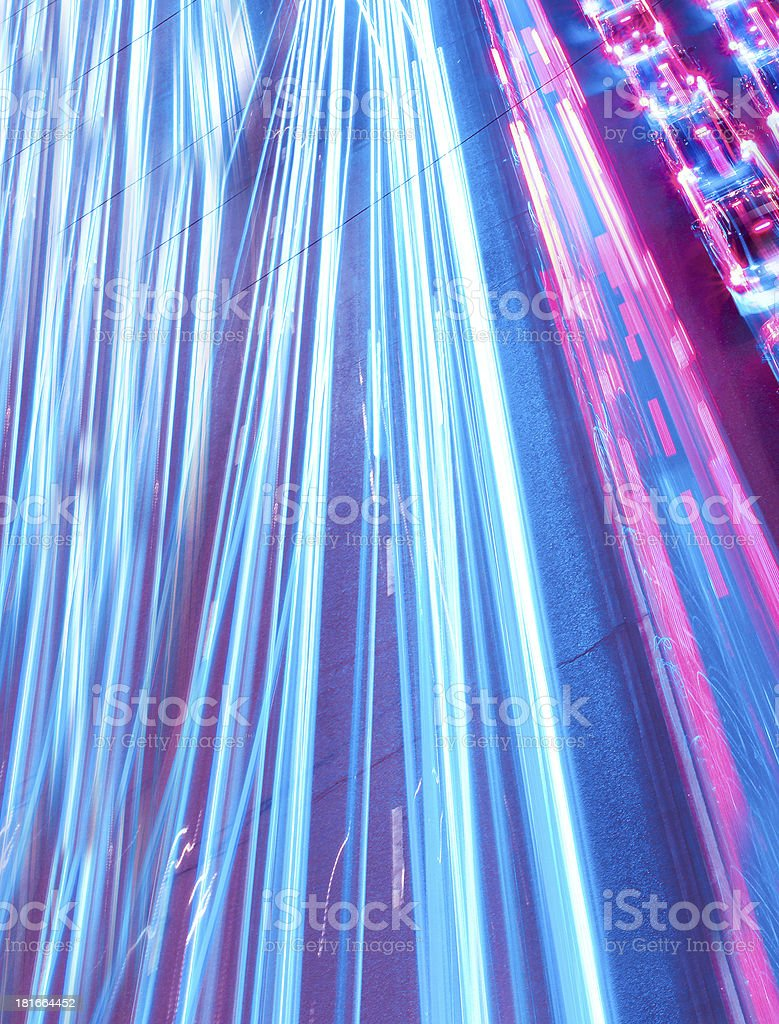 urban city at night with freeway traffic lights royalty-free stock photo
