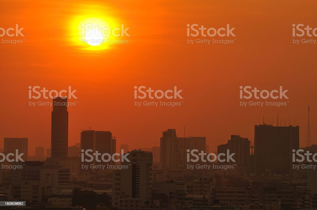 Urban city at sunset stock photo