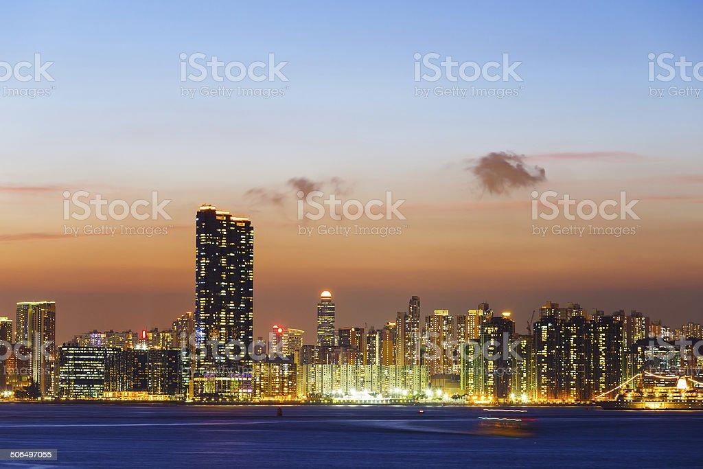 Urban city in Hong Kong at night stock photo