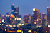 Urban city night light blurred bokeh