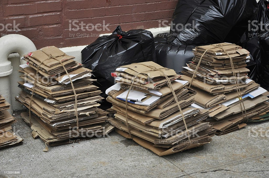 Urban City Recycle Trash Day stock photo
