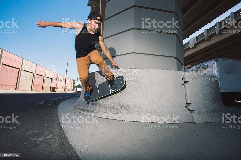 Urban City Skateboarder stock photo
