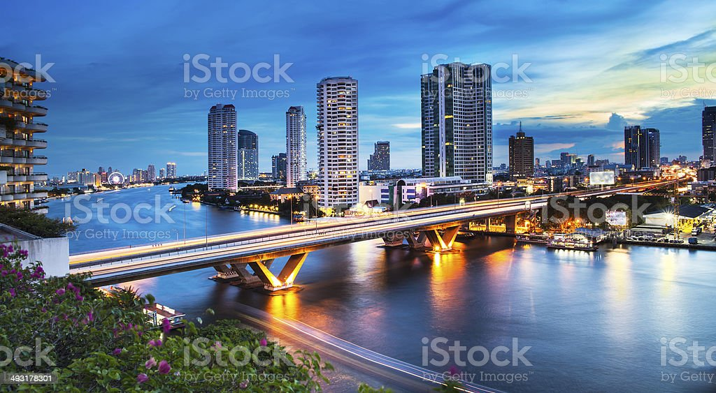 Urban City Skyline, Chao Phraya River, Bangkok, Thailand. stock photo