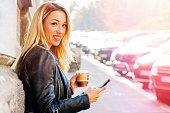 Urban city woman texting