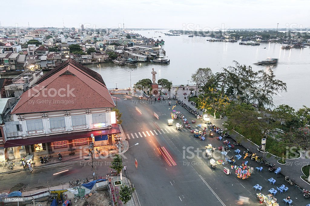 Urban Cityscape At Night Of My Tho In Vietnam stock photo