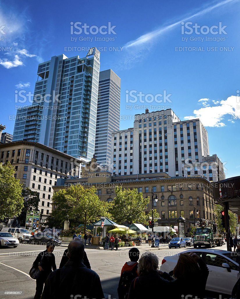 Urban Cityscape, People, Downtown Montreal, Quebec, Canada royalty-free stock photo