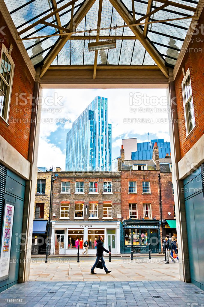 urban contrasts in Shoreditch district, London stock photo