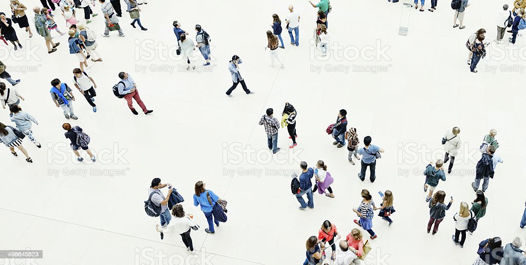 Urban Crowd, Aerial View stock photo