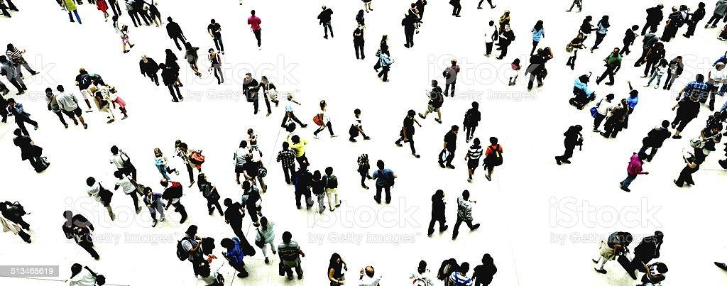 Urban Crowd. Aerial View stock photo