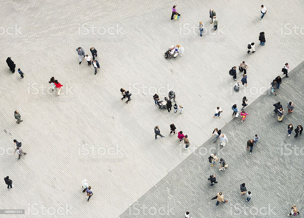 Urban crowd from above stock photo