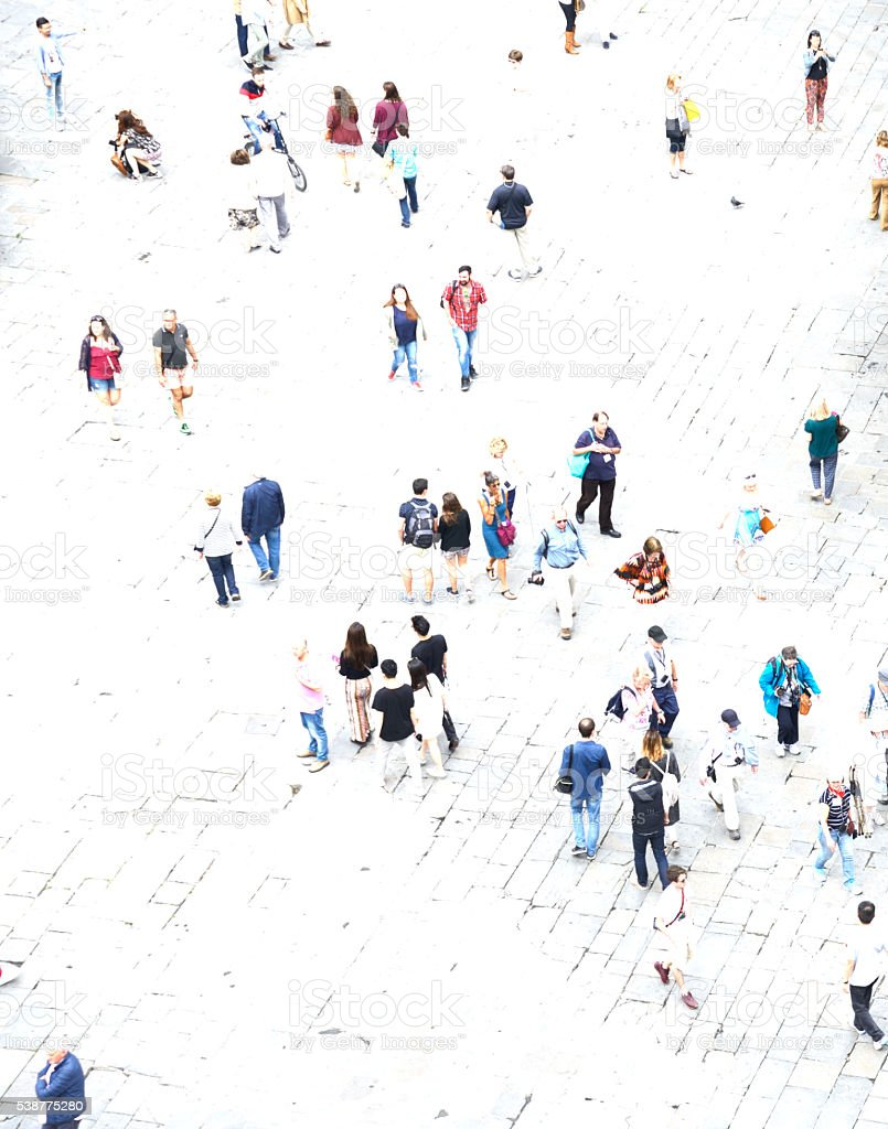 Urban Crowd. London - England. Aerial View. stock photo