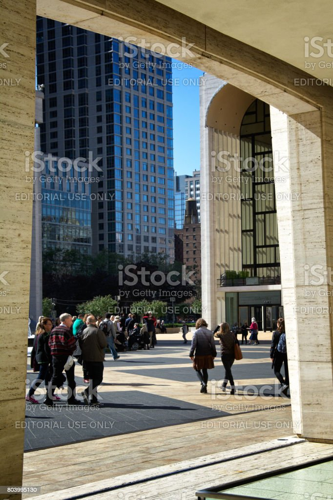Urban Cultural Life, New York City. People arriving at Lincoln Center, Upper West Side, Manhattan. stock photo