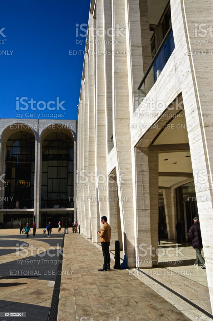 Urban Cultural Life, New York City, USA. People at Lincoln Center, Upper West Side, Manhattan. stock photo