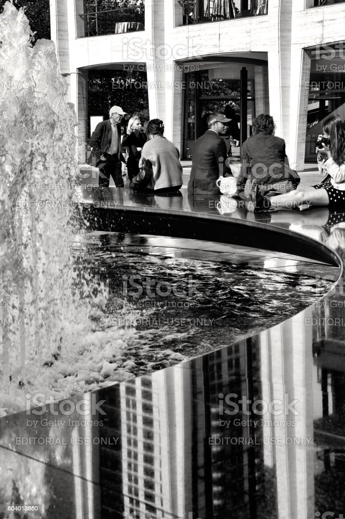 Urban Cultural Life, New York City, USA. People waiting for matinee outside Lincoln Center, Upper West Side, Manhattan. stock photo
