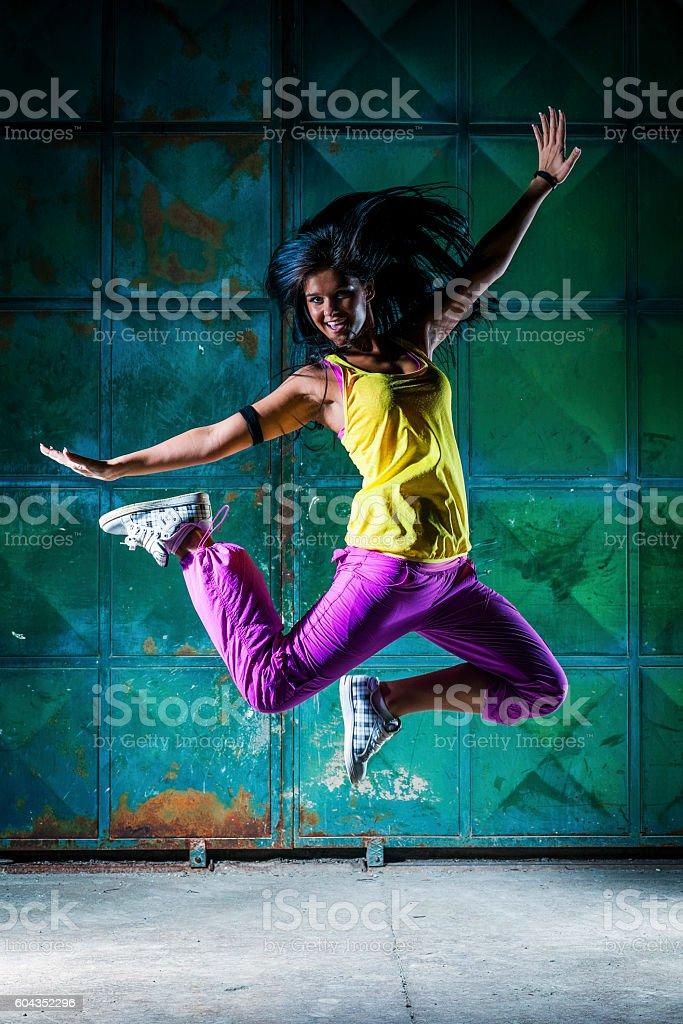Urban dancer jumping stock photo