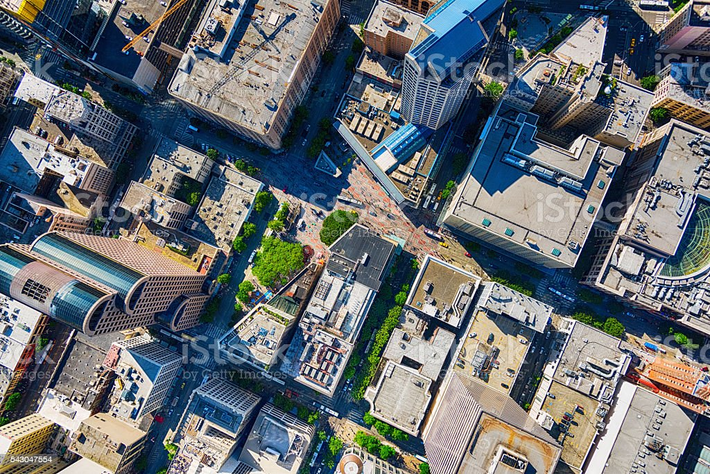 Urban Downtown Aerial of Seattle's Westlake Center stock photo
