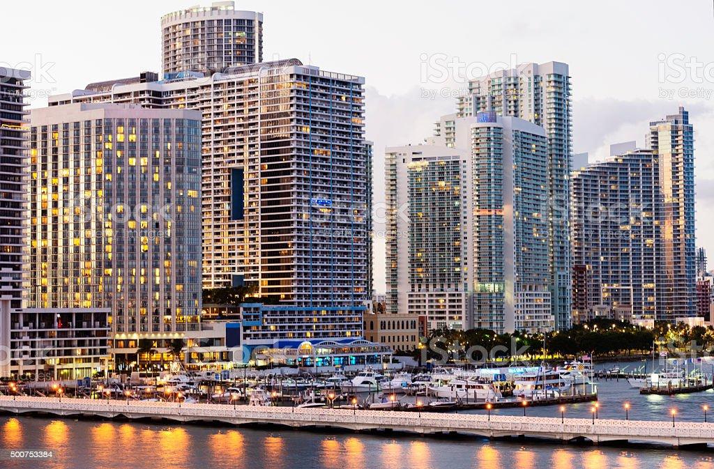 Urban Downtown Miami Cityscape Skyline at Dusk with Venetian Causeway stock photo