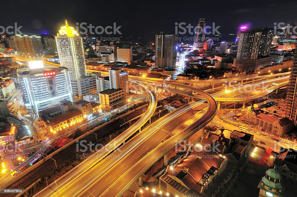 Urban expressway at night stock photo