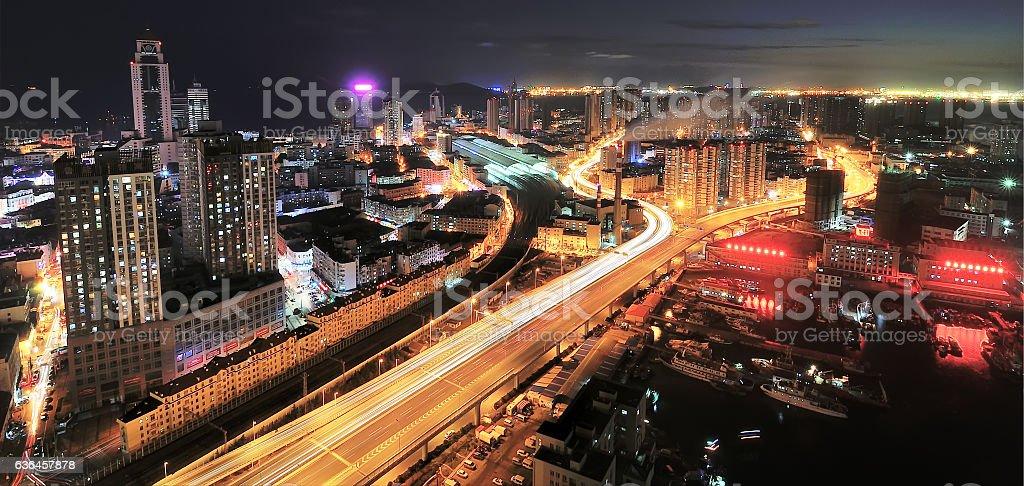 Urban expressway at night stock photo