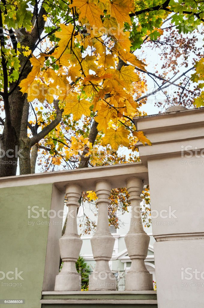 Urban fence in front of the old building in the city of Penza. Russia stock photo