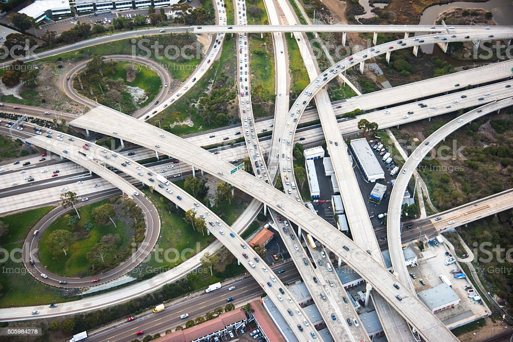 Urban Freeway Interchange From Above stock photo