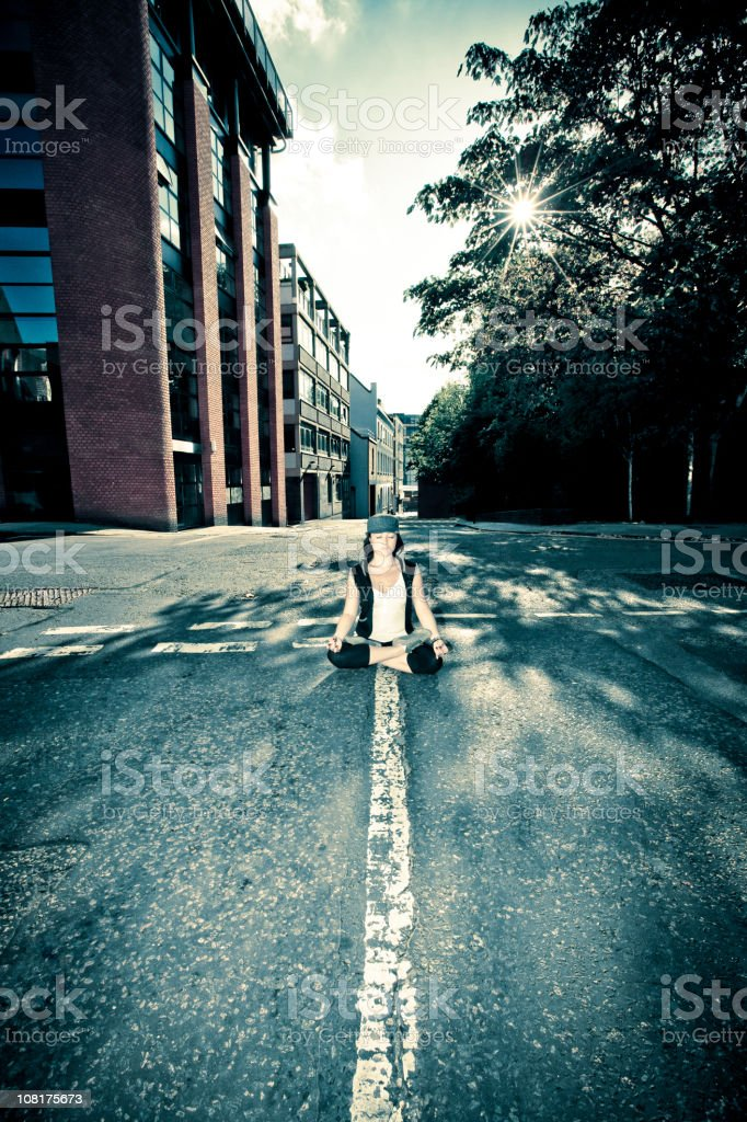 Urban Girl Street Yoga royalty-free stock photo