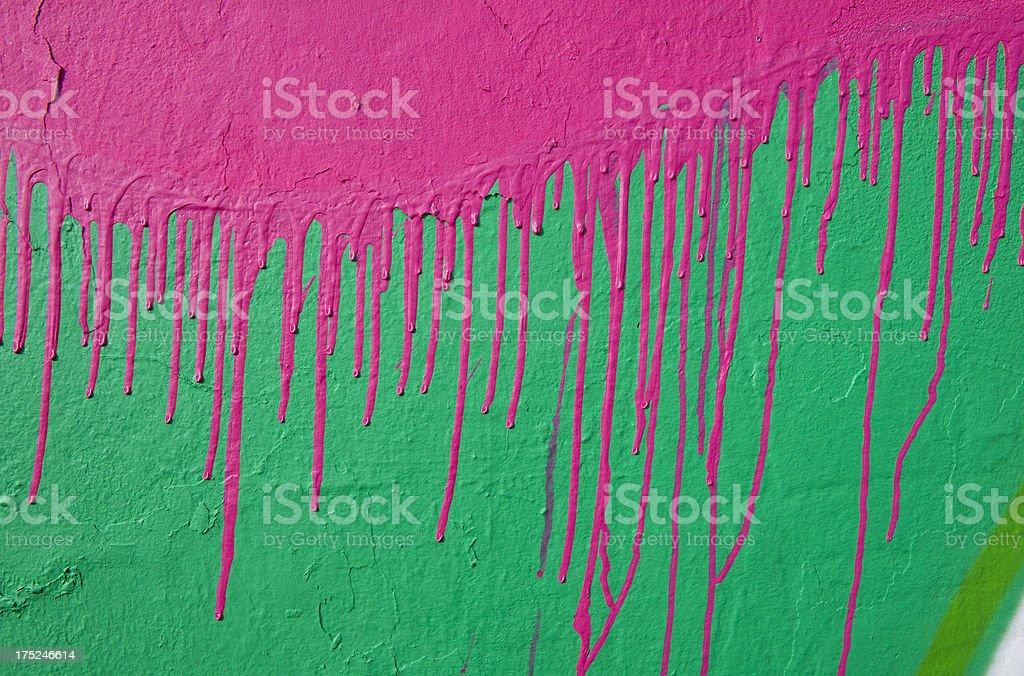 Urban Graffiti Art Spray Paint Dripping Down Exterior Wall royalty-free stock photo
