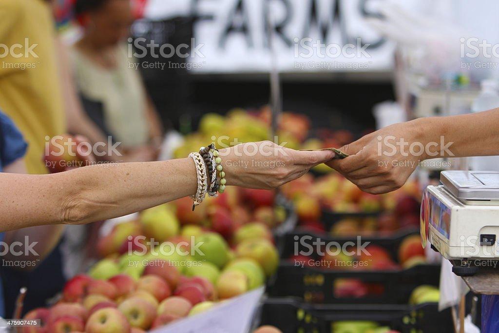 Urban Greenmarket Transaction stock photo