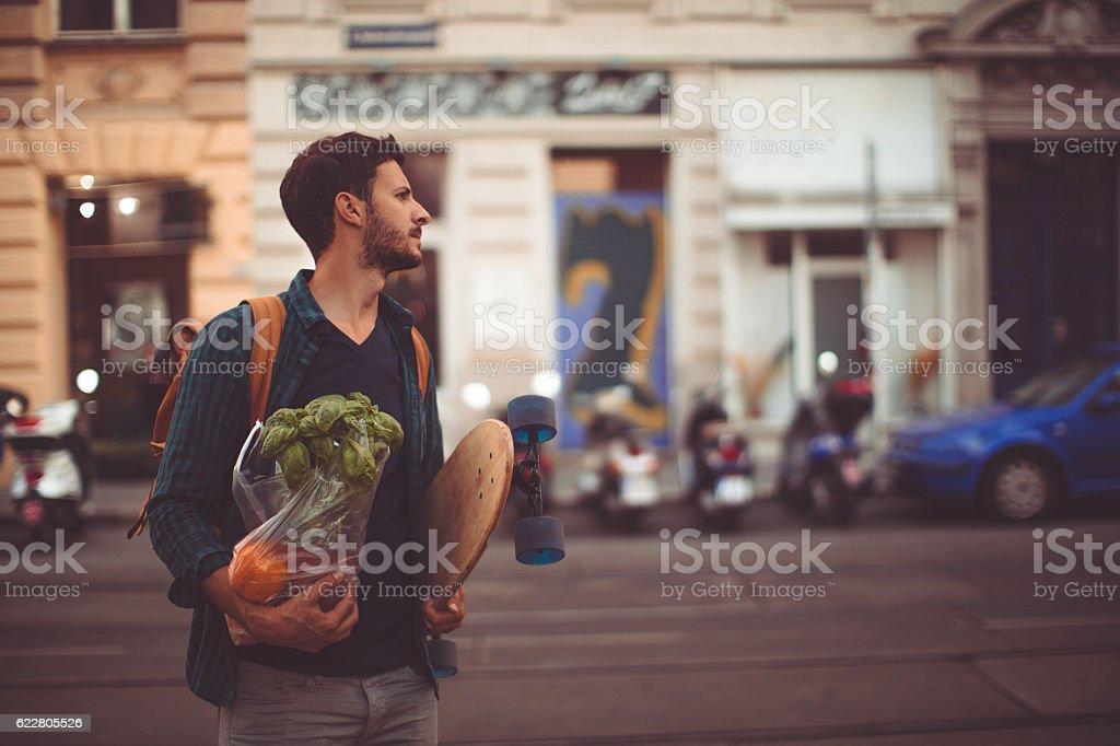 Urban grocery shopper stock photo