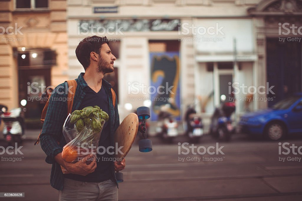 Urban grocery shopper stock photo