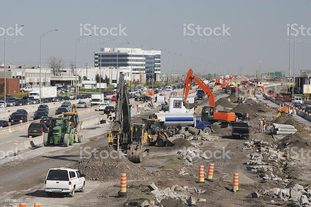 Urban Highway Roadworks royalty-free stock photo